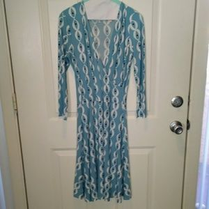 Leota NY Birds & the Bees Belted Faux Wrap Dress